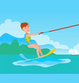 kitesurfing and happy boy kitesurfer on ski vector image vector image