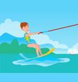 kitesurfing and happy boy kitesurfer on ski vector image