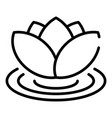 lotus on water icon outline style vector image vector image