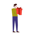 man holding a big gift box vector image