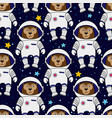 monkey astronaut in space seamless pattern vector image