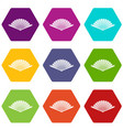 opened oriental fan icon set color hexahedron vector image vector image
