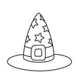 outline witch hat with stars and ribbon style vector image