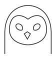 Owl thin line icon animal and zoo bird