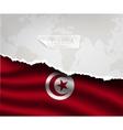 paper with hole and shadows tunisia flag vector image