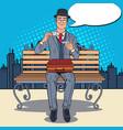 pop art businessman drinking tea on bench vector image