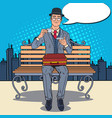 pop art businessman drinking tea on the bench vector image vector image