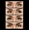 realistic female eyes expressions set vector image vector image