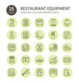 restaurant professional equipment line icons vector image vector image