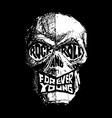 rock and roll forever young hand-drawn black and vector image vector image