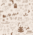 Seamless Christmas pattern hand drawing sketch vector image