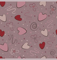 seamless pattern pink hearts curls on a pink and vector image