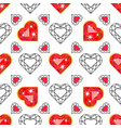seamless pattern with red gem ruby vector image vector image
