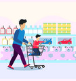 shopping in supper shop with children vector image vector image