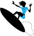 Silhouette of a woman surfing vector image vector image