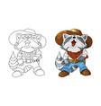 single cartoon character american cowboy laughing vector image