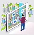 smart city smartphone app vector image
