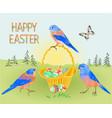 spring easter landscape forest birds bluebirds vector image vector image