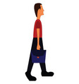 tall man with briefcase on white background vector image