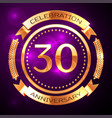 thirty years anniversary celebration with golden vector image vector image