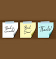 three different notes on wooden wall vector image