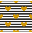 tile pattern with stripes and golden hearts vector image vector image