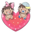 two cute hedgehogs on a heart vector image vector image