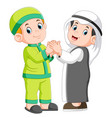 two moslem man and his best friend shaking hands vector image
