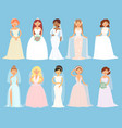 wedding dresses on woman bride character vector image vector image