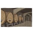 wine barrels in cellar vintage old looking vector image vector image