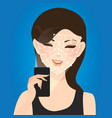 woman face recognition with smart phone technology vector image vector image