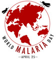 world malaria day logo or banner with mosquito vector image vector image