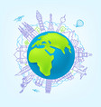 world travel concept with sights vector image vector image