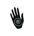 Yoga hand symbol simple black icon on white vector image vector image