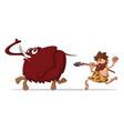 caveman and mammoth vector image