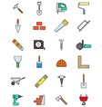 Color construction icons set vector image