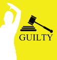 gavel black on yellow vector image