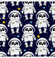 panda astronaut in space seamless pattern vector image