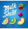 Set of lettering milkshake sign with Strawberry vector image