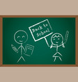 back to school boy girl on green chalk board vector image vector image