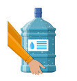 big bottle with clean water for cooler in hand vector image vector image