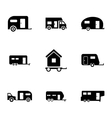 Black trailer icons set