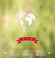 blurred background with eco badge ecology label vector image vector image