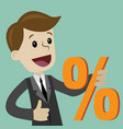 businessman and percent sign vector image vector image