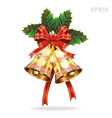Christmas decoration bells and holly leaf vector image vector image