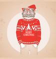 christmas hipster fashion animal frog vector image