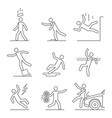 common accidents signs black thin line icon set vector image