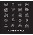 conference editable line icons set on black vector image vector image