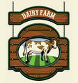 dairy farm sign with cow image vector image vector image
