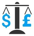 Dollar Pound Balance Flat Icon Symbol vector image vector image